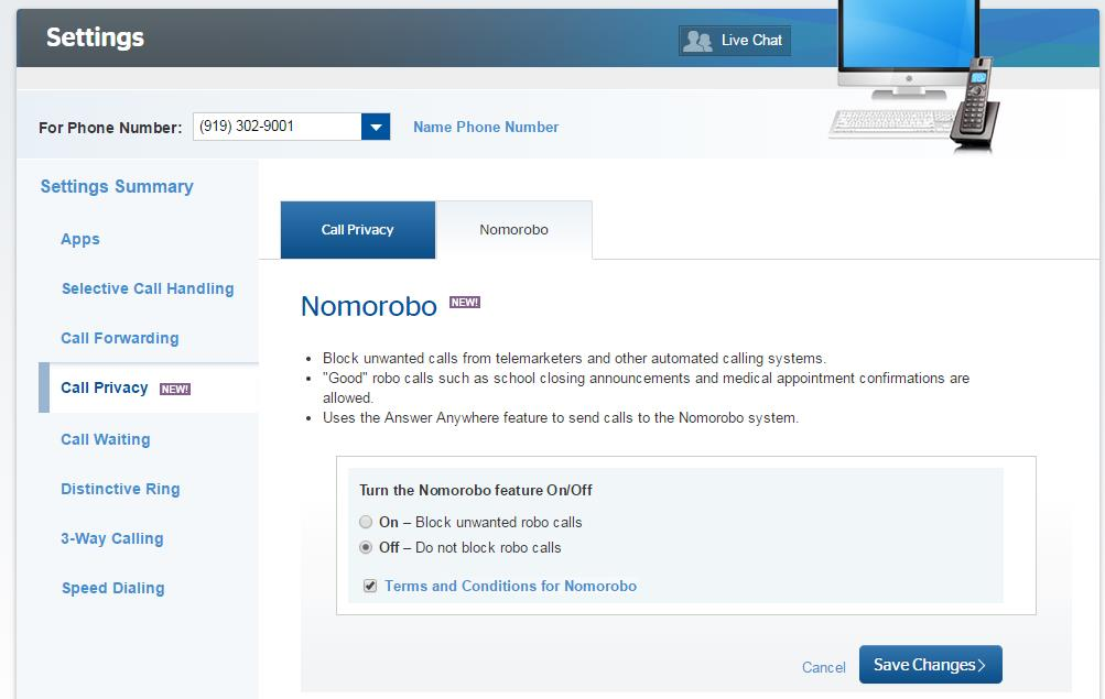 TWC has updated its VoiceZone site to include the option of turning Nomorobo on or off with a click.