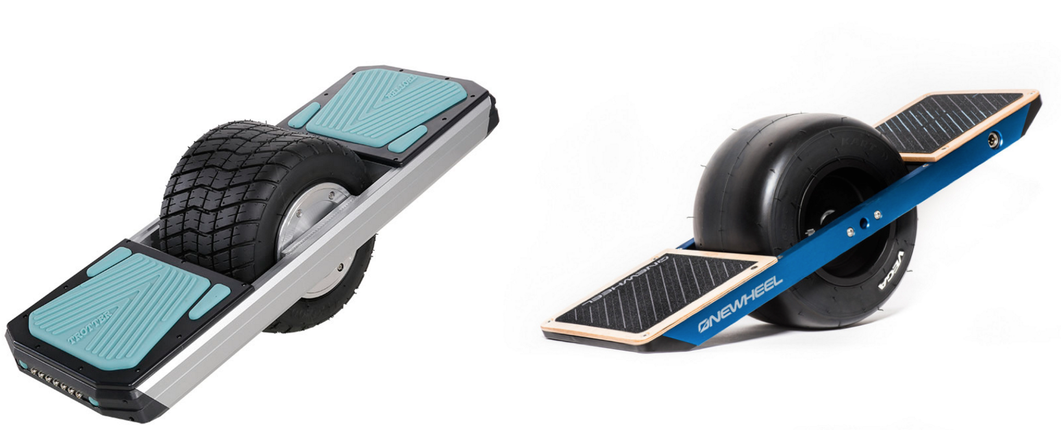 On the left is the alleged knockoff from Changzhou, which currently sells for $550 on Alibaba, about 1/3 the price of the $1,499 Future Motion Onewheel on the right.