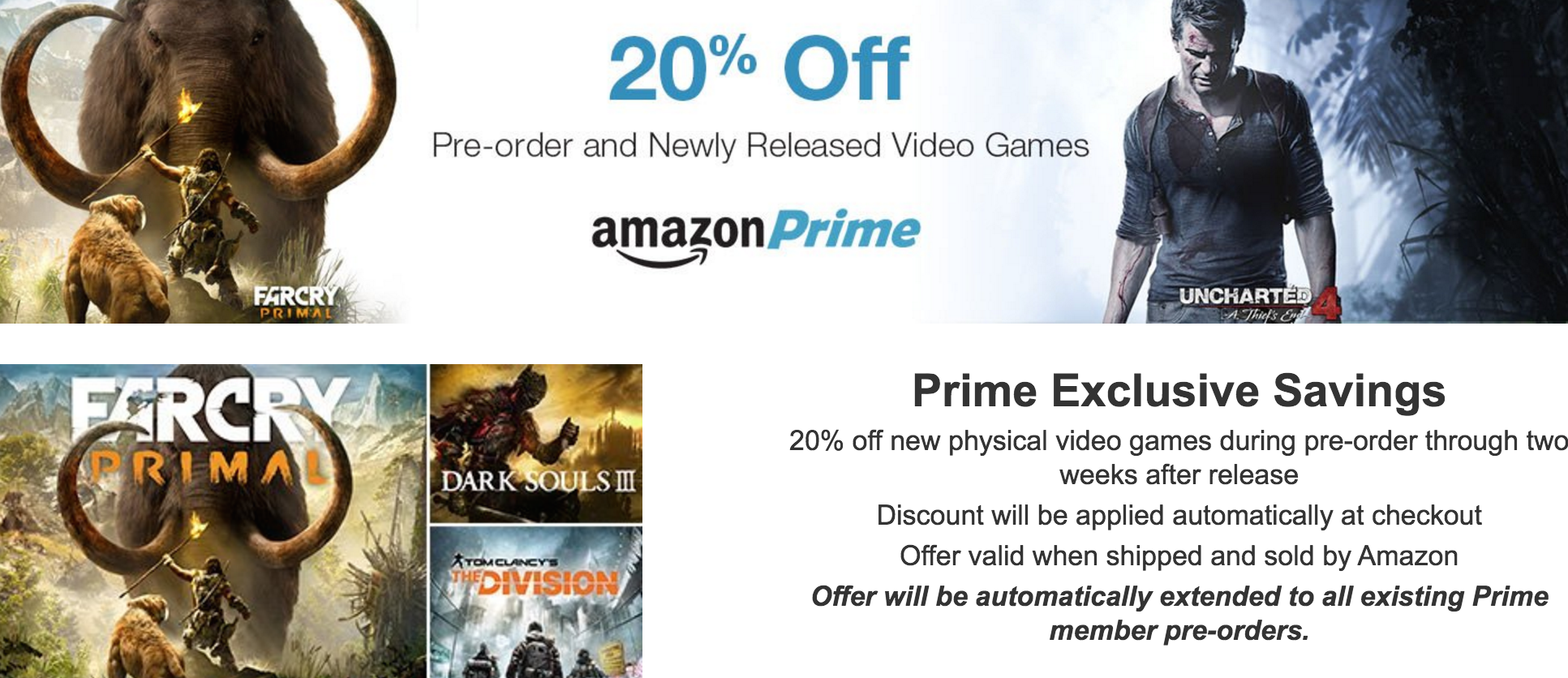 Amazon Prime Adds 20% Discount On Video Game Pre-Orders & New Releases