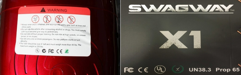 Images from UL showing alleged counterfeit mark on a Swagway product.