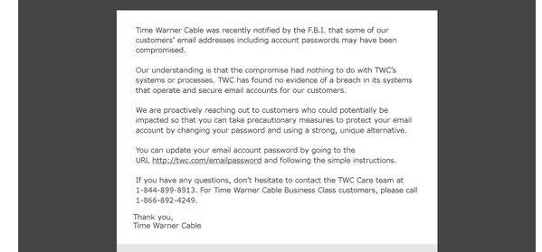 How Do I Setup My Time Warner Cable Email: Time Warner Cable Warns 320000 Customers Their Email 6 Passwords rh:consumerist.com,Design
