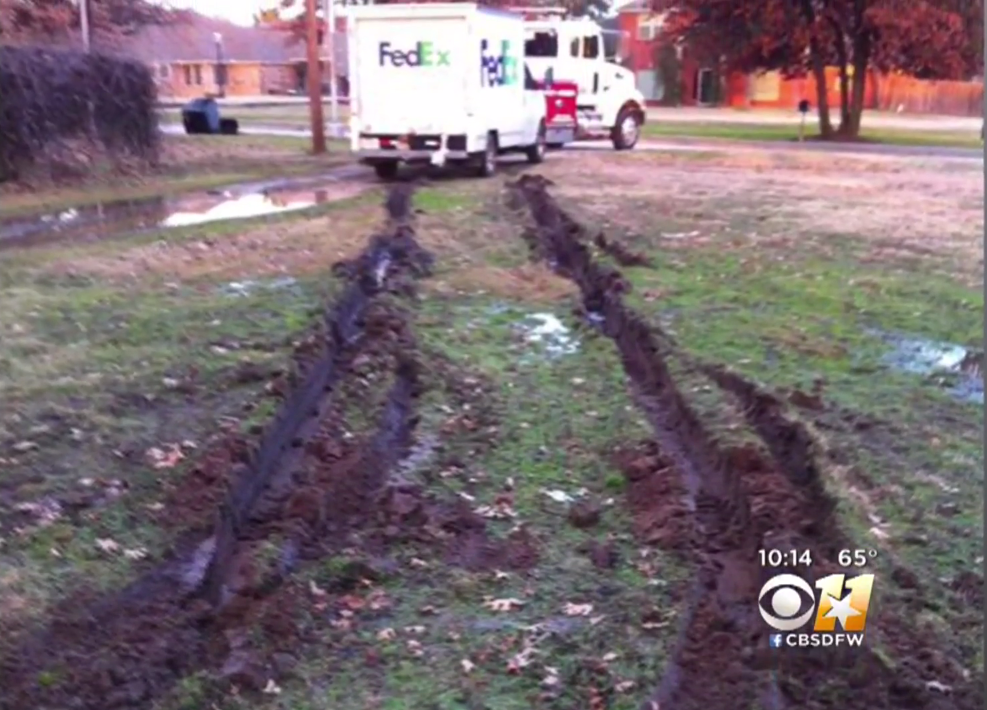 Stuck-In-The-Mud FedEx Truck Ruins Front Yard, Company Shrugs