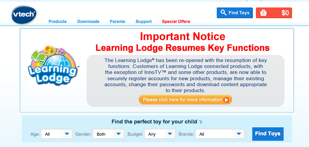 VTech's Latest User Agreement Lets Company Skirt Liability For Future Hacks