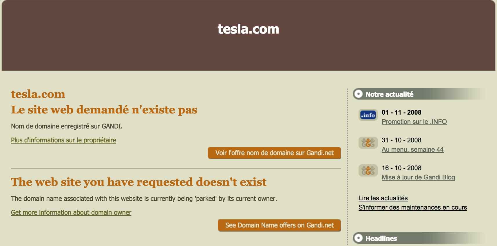 Tesla.com has gone largely unused for years. This is what the site looked like only a few years ago. (via the Internet Archive)