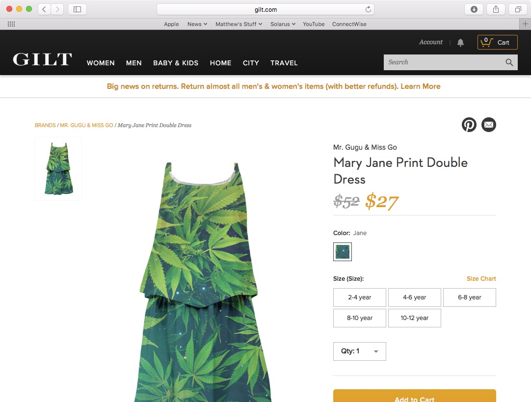 Sorry, Gilt Is All Sold Out Of These Marijuana-Print Dresses For Kids