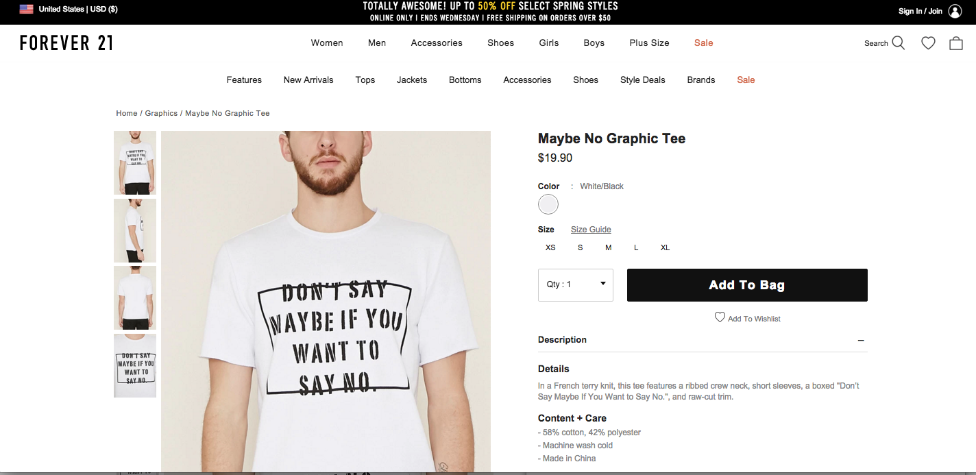 "Forever 21 Customers Saying ""No"" To Men's ""Don't Say Maybe If You Want To Say No"" Shirt"