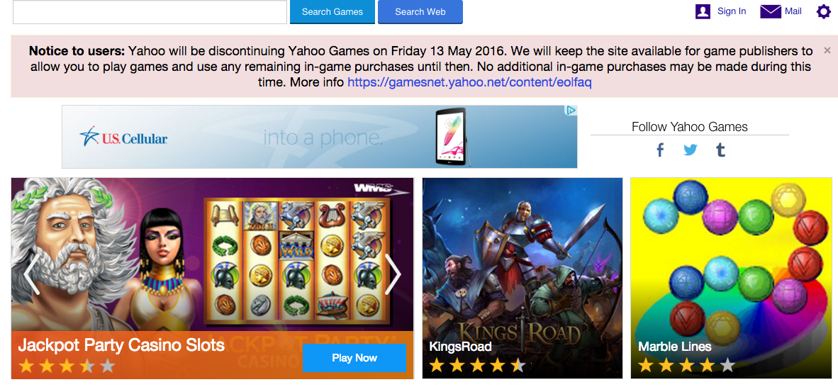 Yahoo Closing Games Portal, Other Services In Bid To Streamline Focus