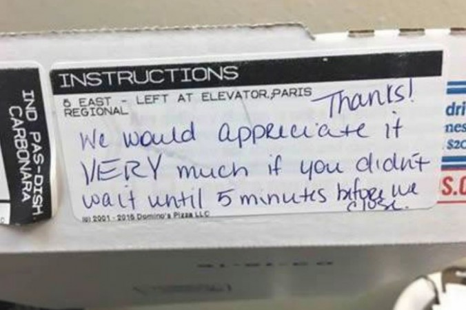 Rude Note On Domino's Box Scolds Customer For Late Order
