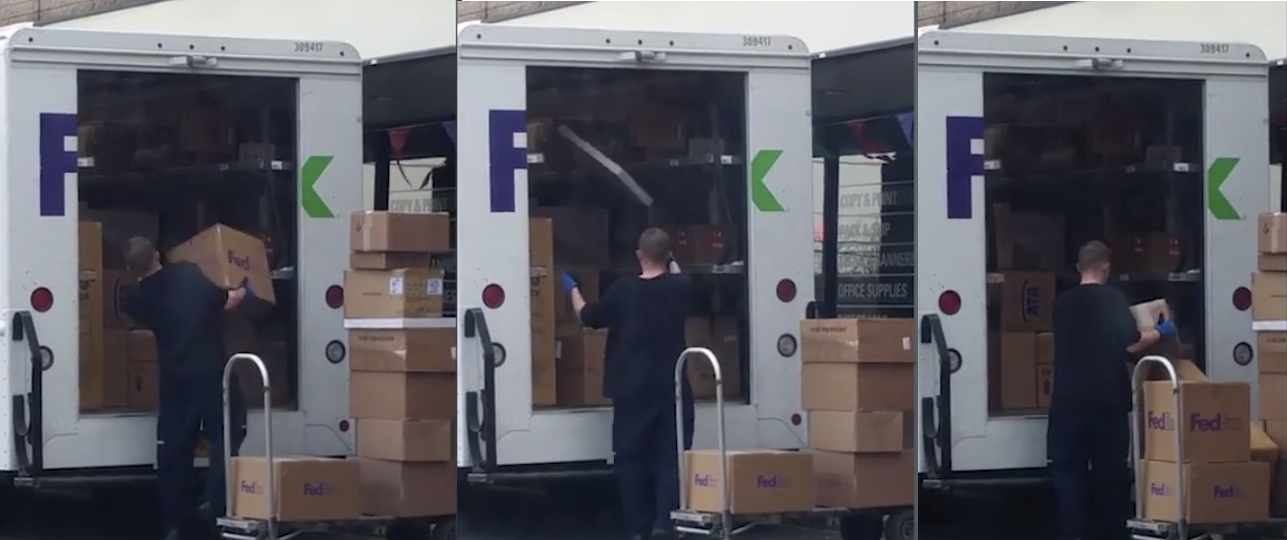 Collectibles Seller Films FedEx Worker Flinging Packages Around