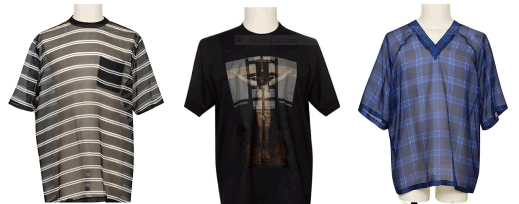 L-R: Black striped, black T-shirt with image, Blue striped