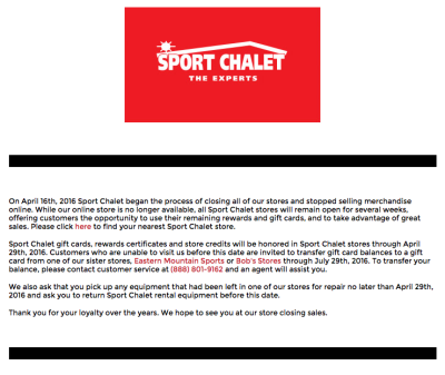 Sport Chalet's website now features this closure notice. [click to enlarge]