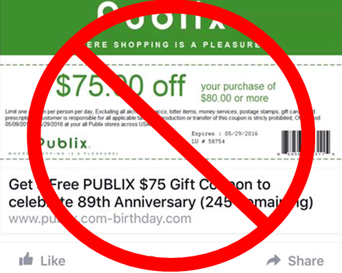 "Publix Coupon Scam Rears Its Ugly Head Yet Again: ""$75 Off $80 Purchase"" Deal Is Fake"