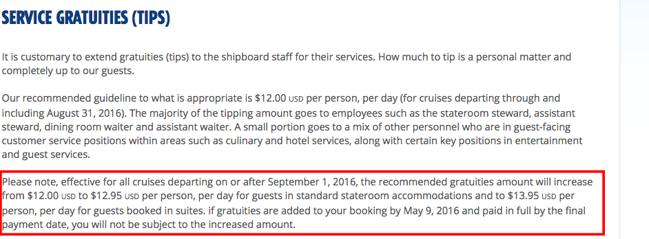 Carnival Cruise Line Hiking Automatic Gratuity Charge By Almost 1 Consumerist