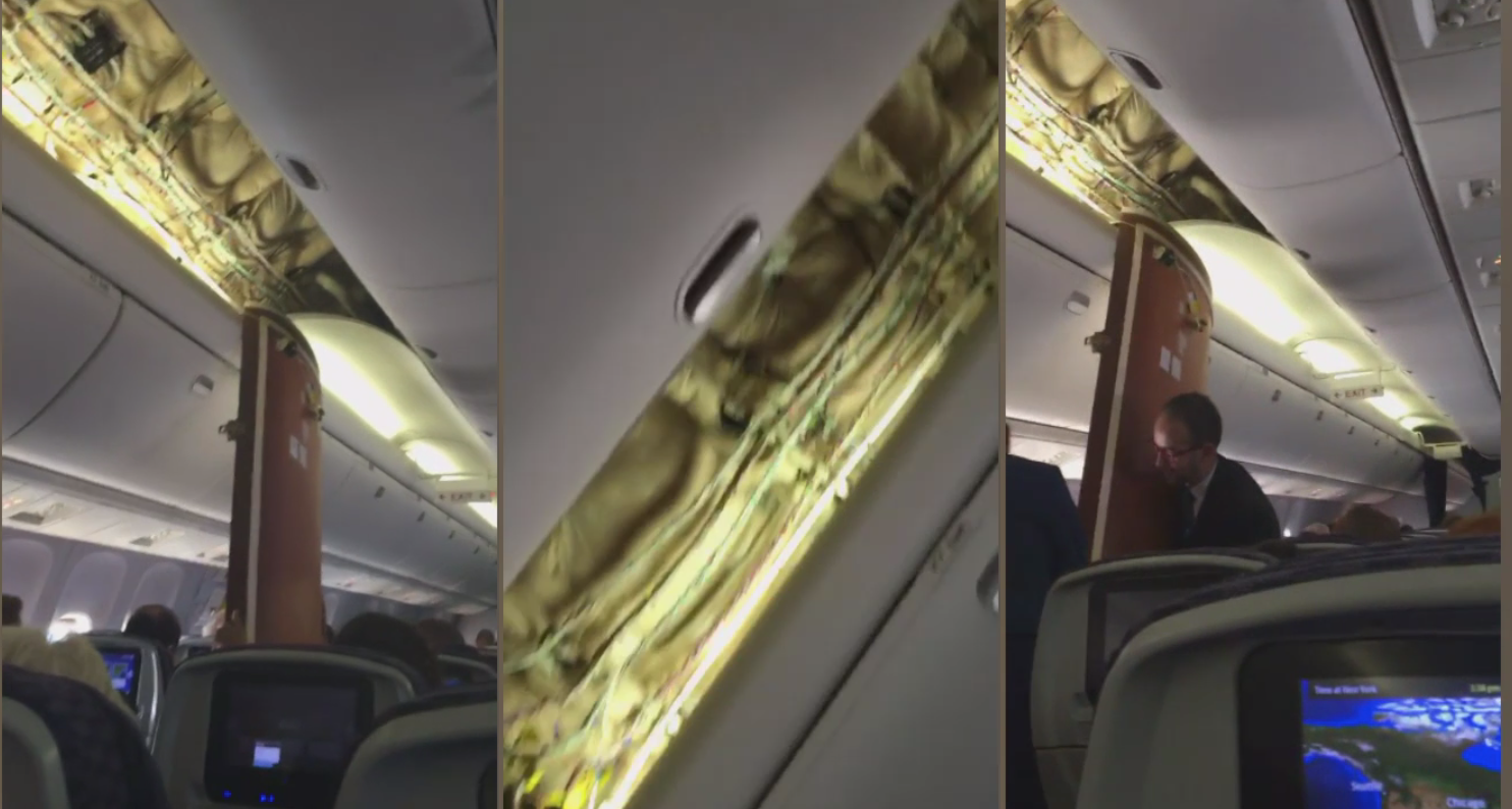 United Airlines Flight Lands Safely After Two Attempted Landings, Ceiling Panels Fall Mid-Air