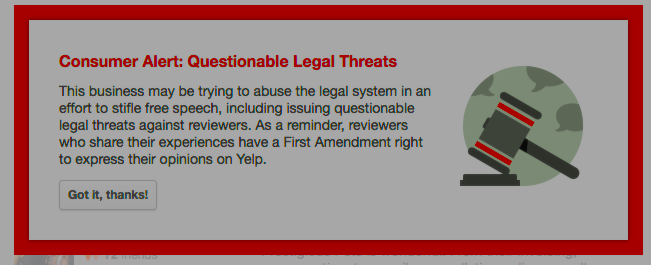 "Yelp Explains Why It's Flagging ""Questionable Legal Threats"" In Reviews"