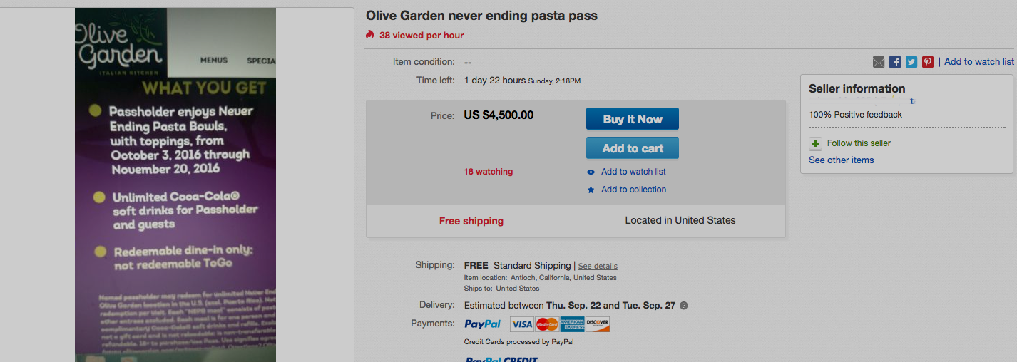Olive Garden Unlimited Pasta Passes Hit eBay With Prices Up To $4,500 Because Of Course