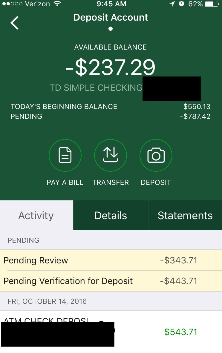My Bank Overdrafted My Account By Putting Two Holds On One