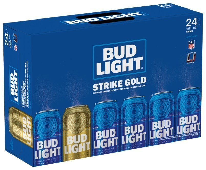 Get A Golden Bud Light Can, Win A Remote Chance To Win Super Bowl Tickets