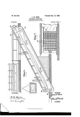 "An 1899 patent for Jesse Reno's ""Inclined elevator"""