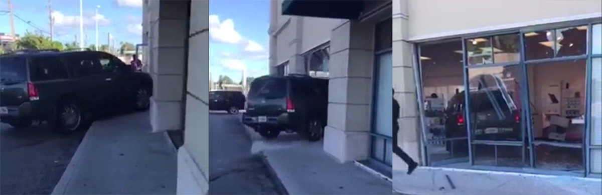 Angry Customer Drives SUV Into T-Mobile Store, Keeps Destroying Stuff