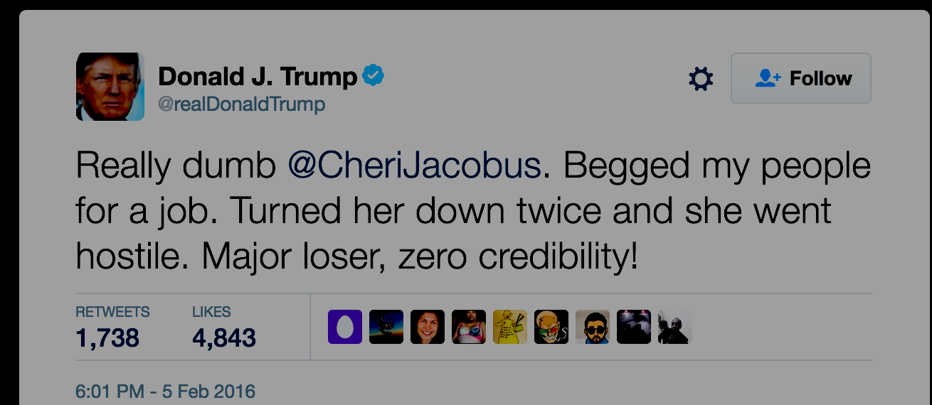 "Political Pundit Can't Sue Trump Over Tweet Saying She ""Begged"" For A Job"