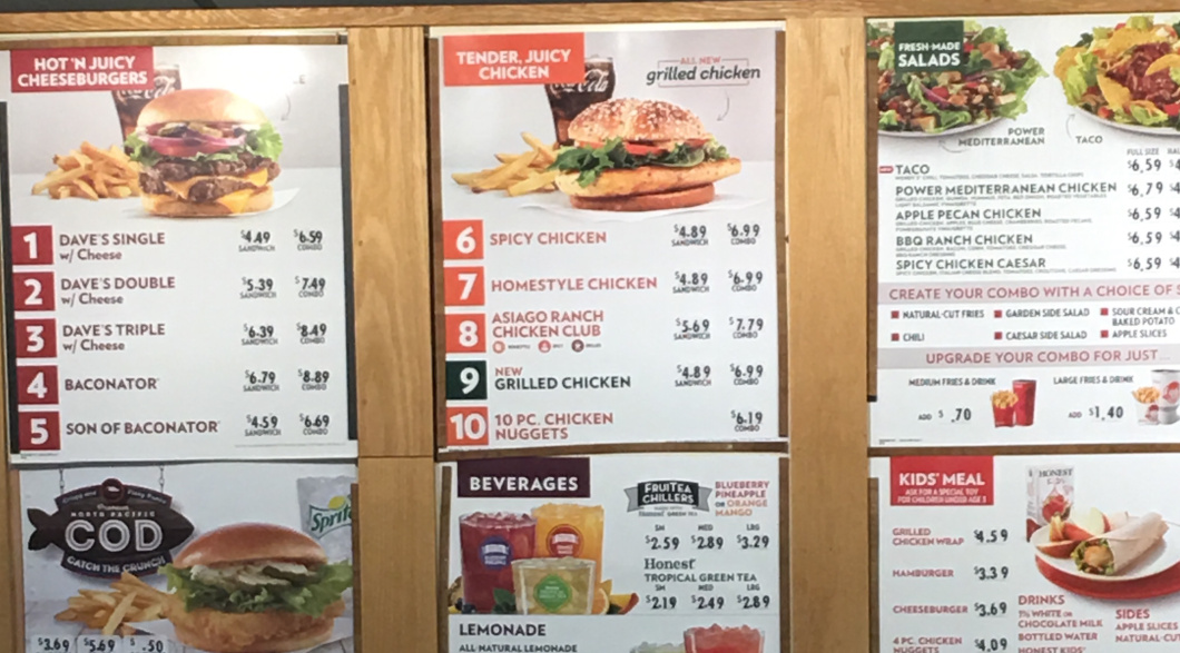 The menu at an Iowa Wendy's does not list spicy nuggets.