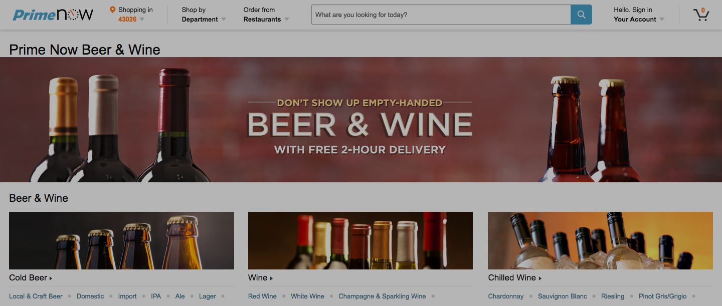 Amazon Prime Expanding Beer, Wine Delivery Service