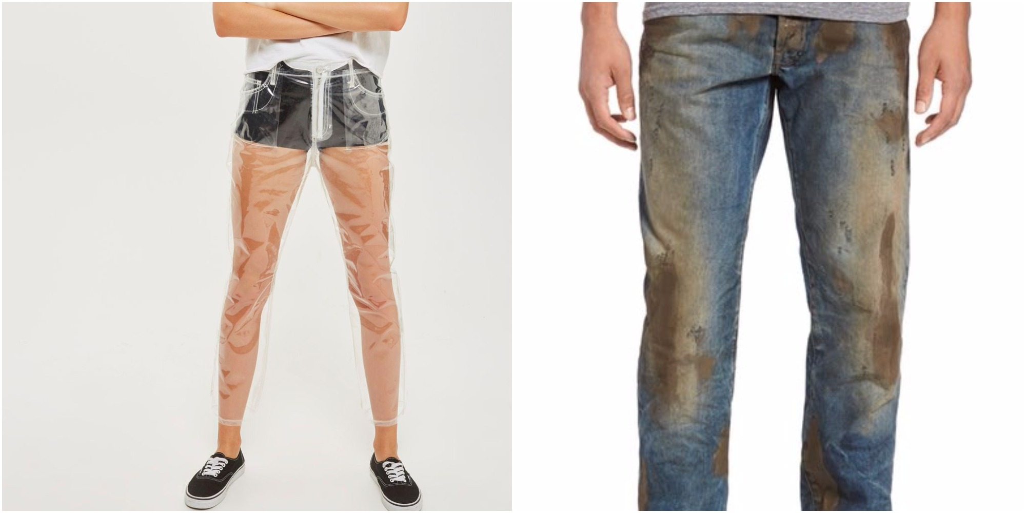Today In WTF Fashion: TopShop Sells Clear 'Jeans' While Nordstrom Charges $425 For 'Muddy' Ones