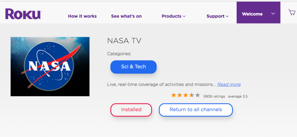 The NASA Channel App On Roku Doesn't Work And It Isn't From