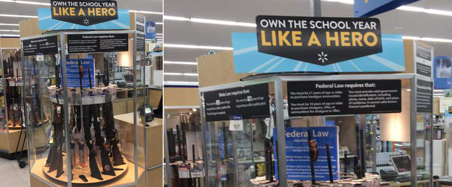 Walmart Claims 'Back-To-School' Sign On Gun Case Was A Prank