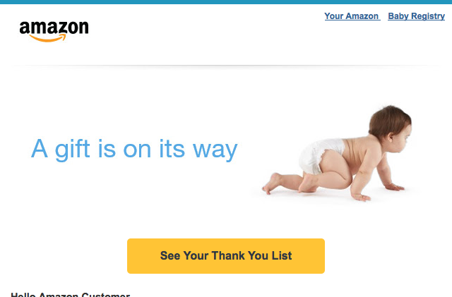 Apparent Email Glitch Sent Amazon Baby Registry Notifications To Non-Parents-To-Be
