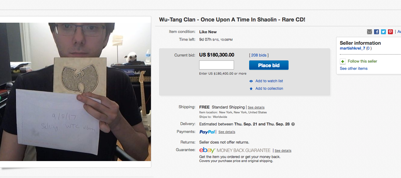 Convicted Pharma Bro Martin Shkreli Appears To Be Selling His Rare Wu-Tang Clan Album On eBay