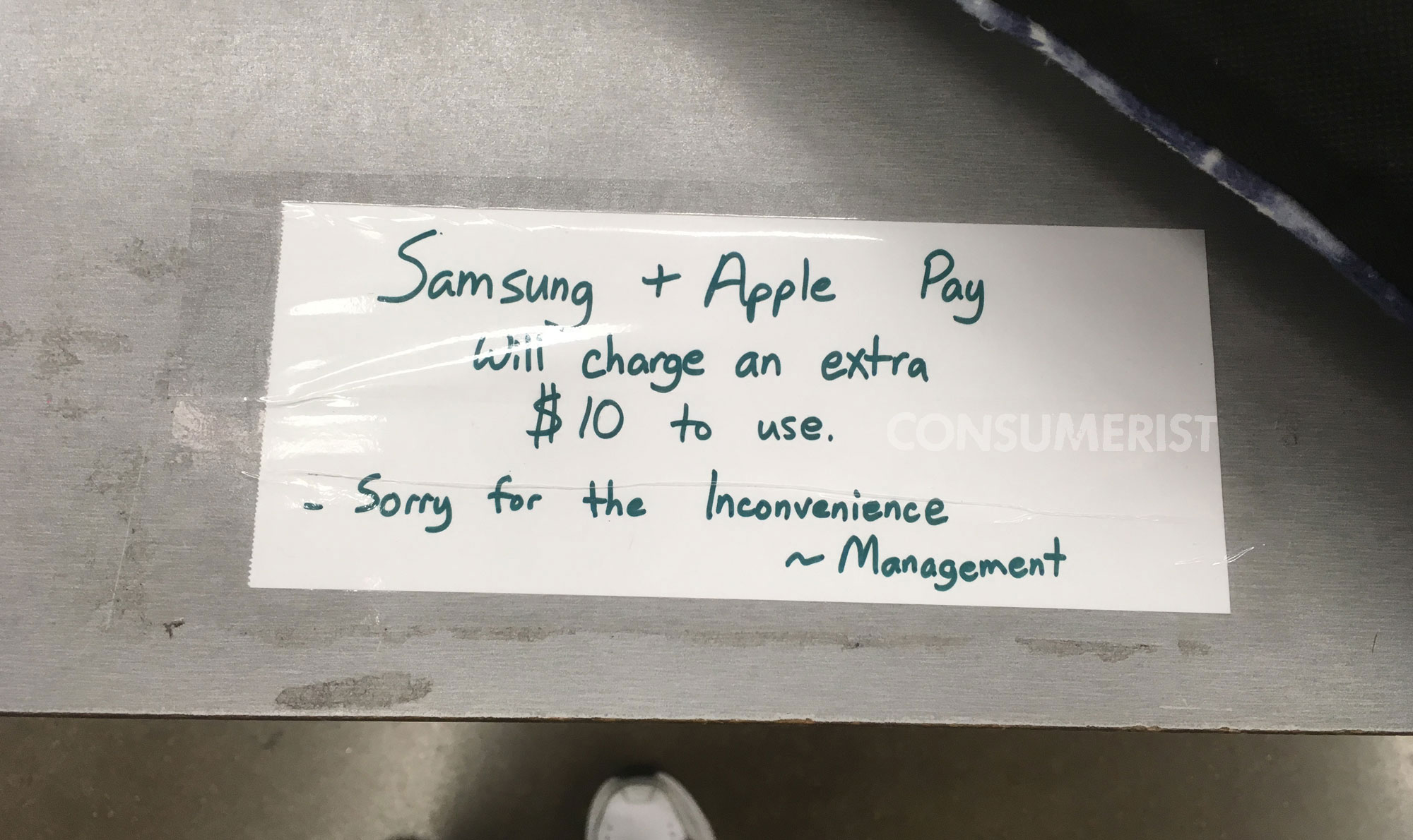 Why Did This Store Falsely Claim There Was A $10 Fee For Apple Pay Or Samsung Pay?
